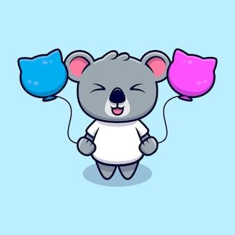 Netter koala, der mit ballon-maskottchen-karikatur spielt