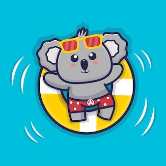 Netter koala, der mit schwimmringillustration schwimmt