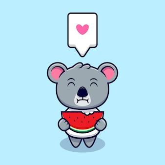 Netter koala, der wassermelonen-maskottchen-karikatur isst