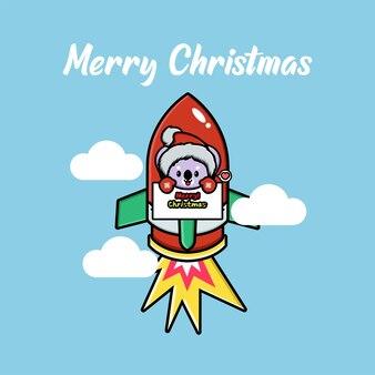 Netter koala, der weihnachten auf einer fliegenden rakete feiert