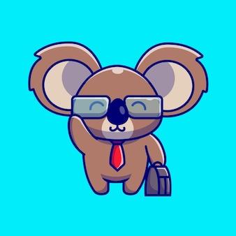 Netter koala-geschäftsmann, der koffer-cartoon-illustration hält