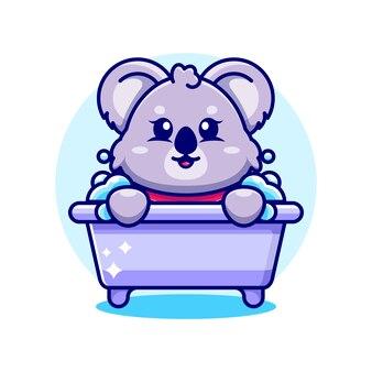 Netter koala in einer badewannen-zeichentrickfigur