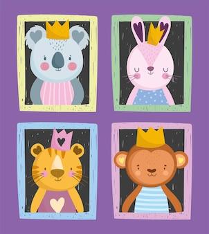 Netter koala-kaninchen-tiger und affe mit gezeichnetem stil des kronenporträts
