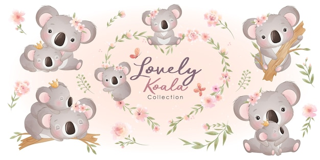 Netter koala mit blumensammlung