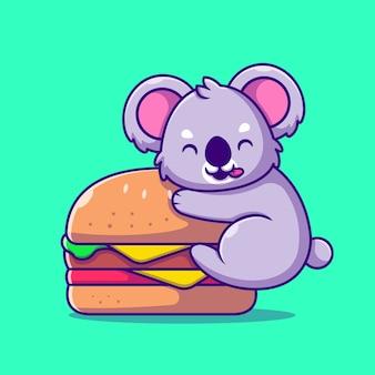 Netter koala mit großer burger-karikatur-symbol-illustration. tierfutter-symbol-konzept isoliert. flacher cartoon-stil