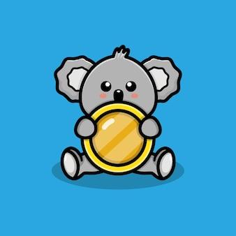 Netter koala mit münzenillustration