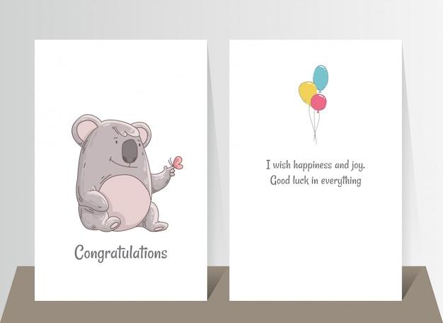 Netter koala mit schmetterling am finger. hand gezeichnete gekritzelplakatschablone mit airballs. netter karikaturbärcharakter