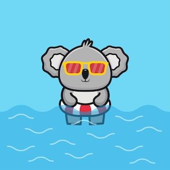 Netter koala mit schwimmringkarikaturillustrationstier-sommerkonzept