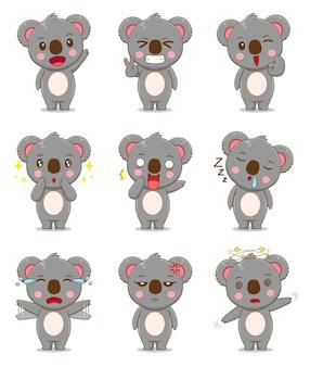 Netter koala mit unterschiedlichem ausdruck