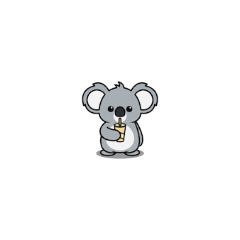 Netter koala-trinkwasser-cartoon lokalisiert auf weiß