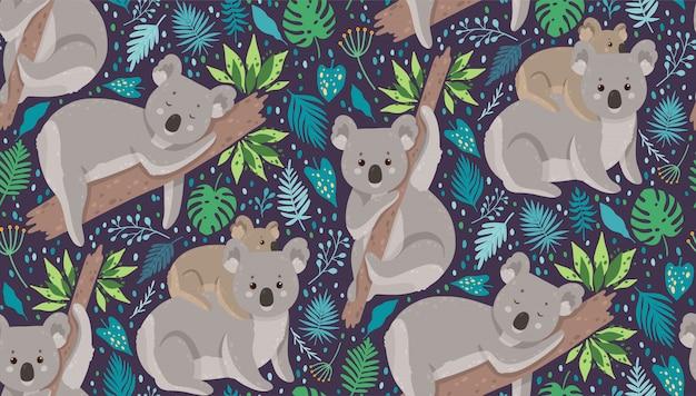 Netter koala umgeben durch tropische blätter