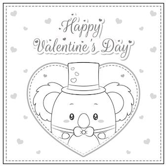 Netter koala-zeichnungspostkarten-große herzskizze des glücklichen valentinstags zum färben