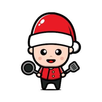 Netter koch, der weihnachtsmannhut-karikaturillustration trägt. weihnachtskonzept