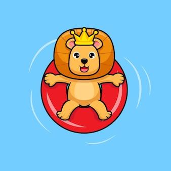 Netter könig der löwen, der in der ikonenillustration des schwimmbaddesigns entspannt