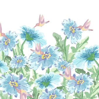 Netter kolibri und helle blaue blume im garten.