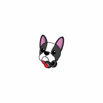 Netter kopf der französischen bulldogge mit kopfhörer vector illustration