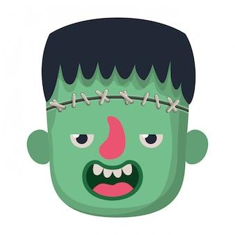 Netter kopf des kleinen jungen mit frankensteins monstermaske