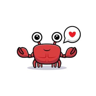 Netter krabbencharakter, der hand mit liebe winkt