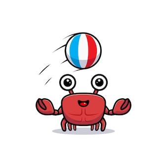 Netter krabbencharakter, der mit ball spielt