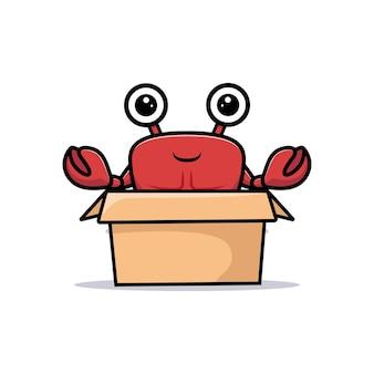 Netter krabbencharakter innerhalb des pappkartons und der wehenden hand