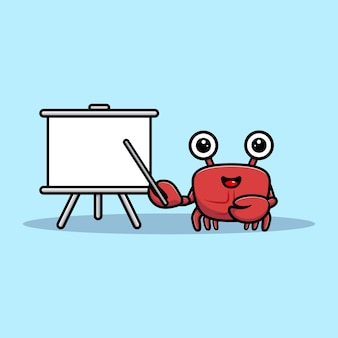 Netter krabbencharakter machen eine präsentation