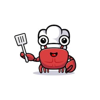 Netter krabbenkochcharakter, der spatel hält
