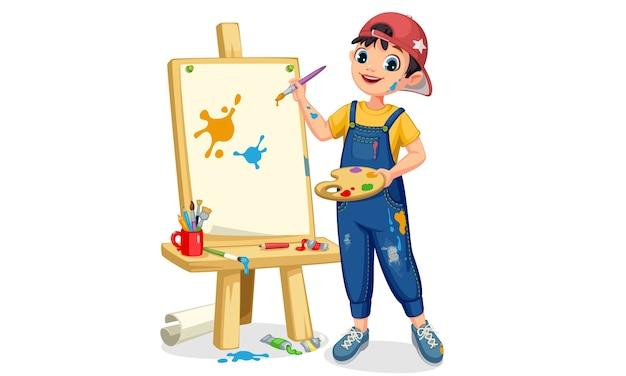 Netter künstler kleiner junge, der auf leinwandillustration malt