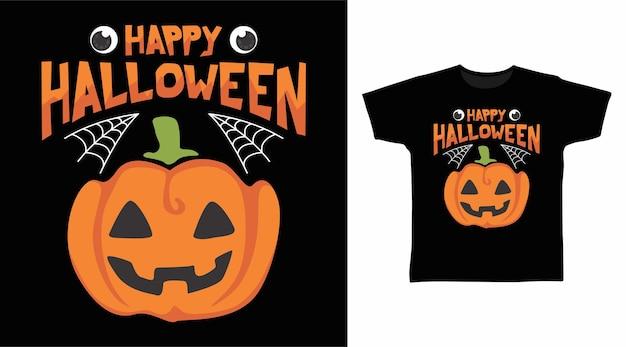 Netter kürbis glücklicher halloween-t-shirt-entwurf