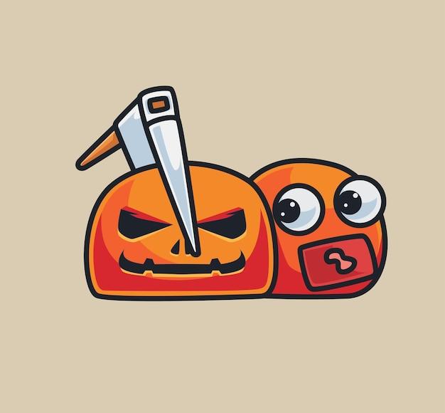 Netter kürbis mit einer axt. isolierte cartoon-tier-halloween-illustration. flacher stil geeignet für sticker icon design premium logo vektor. maskottchen-charakter