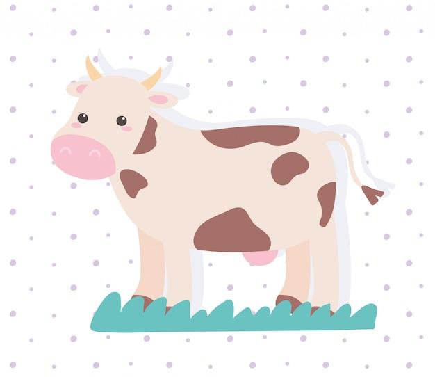 Netter kuh-tierkarikatur in einer gepunkteten vektorillustration der natürlichen landschaft