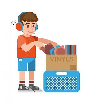 Netter lächeln junger hipster-junge im kopfhörer, der verschiedene alte vintage-vinyls mit musik für kauf im musikalischen vinyl-laden-shop betrachtet. flache gestaltung der modernen artillustrationskarikaturfigur.