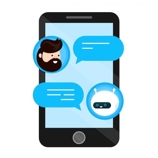 Netter lächelnder chatbot wird mit einem personenmann abgeschrieben. dialog auf dem smartphone-handy-bildschirm. wohnung im modernen stil cartoon charakter illustration symbol. isoliert auf weiss