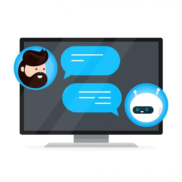 Netter lächelnder chatbot wird mit einem personenmann abgeschrieben