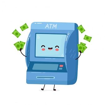 Netter lächelnder glücklicher geldautomat mit geld. flache zeichentrickfigur abbildung.isolated auf weißem hintergrund. geldautomat, atm-charakter-konzept