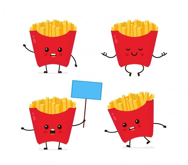 Netter lächelnder glücklicher lustiger netter pommes-frites-satz. moderne flache artzeichentrickfilm-figur-illustration. lokalisiert auf weiß. französische fischrogenmahlzeit. laufen, meditieren, steht mit einem zeichen