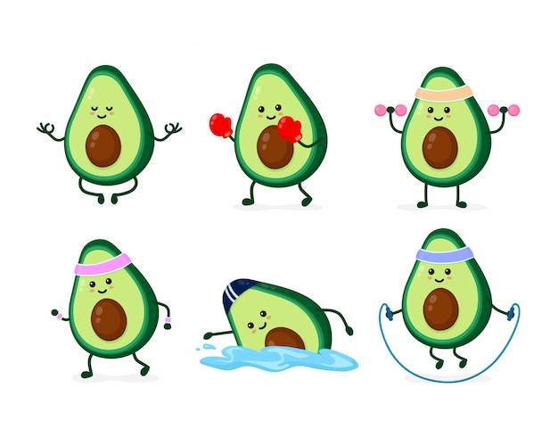 Netter lächelnder glücklicher starker avocadogesundheits- und -eignungssatz