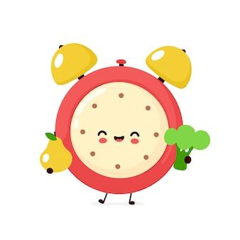 Netter lächelnder glücklicher wecker mit birne und brokkoli. flache karikaturfigur illustration design.isolated auf weißem hintergrund. wecker zeituhr, gesunde ernährung diät charakter konzept