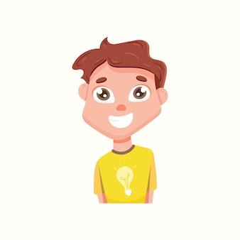 Netter lächelnder kerl in einem t-shirt. vektorillustration im flachen stil