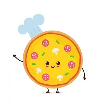 Netter lächelnder lustiger netter pizzachef. moderne flache artzeichentrickfilm-figur-illustration. lokalisiert auf weiß. pizza im chefhut