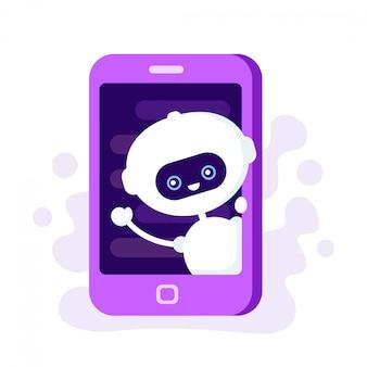 Netter lächelnder roboter, chatbot im smartphone. moderne flache artkarikaturcharakterillustration. auf weißem hintergrund isoliert. sprachunterstützung, konzept zur unterstützung der virtuellen online-hilfe