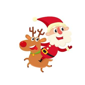 Netter lächelnder weihnachtsmann mit glücklichem hirsch, karikaturillustration lokalisiert auf weißem hintergrund, alter mann mit glücklichem, frohem, lächelndem gesichtsausdruck.