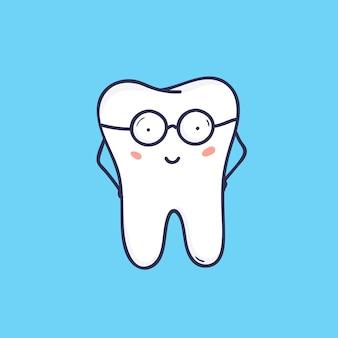 Netter lächelnder zahn, der brille trägt. intelligentes glückliches maskottchen oder symbol für zahn- oder kieferorthopädieklinik