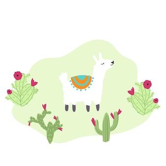 Netter lama mit kaktus im gezeichneten kindischen stil der karikatur hand lustiger tiercharakter für kinderzimmer