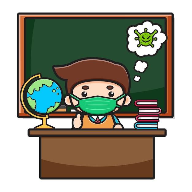 Netter lehrer, der im klassenzimmer sitzt und maskekarikaturikonenillustration trägt. entwurf getrennt auf weiß. flacher cartoon-stil.