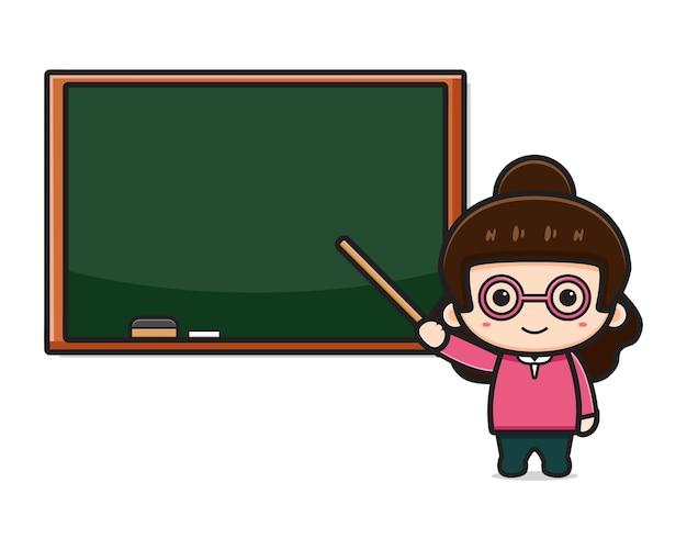 Netter lehrer im klassenzimmer, das auf tafelkarikaturillustration zeigt. entwurf getrennt auf weiß. flacher cartoon-stil.