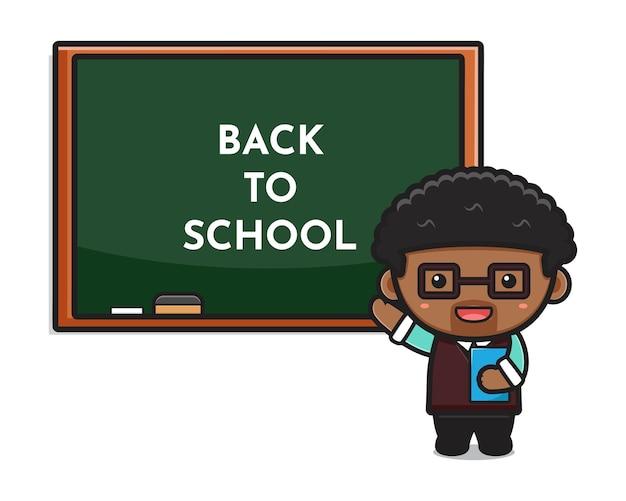 Netter lehrer im klassenzimmer, das holdingbuchkarikaturillustration zeigt. entwurf getrennt auf weiß. flacher cartoon-stil.