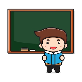 Netter lehrer im klassenzimmer, das lesebuchkarikaturillustration zeigt. entwurf getrennt auf weiß. flacher cartoon-stil.