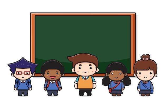 Netter lehrer und schüler im klassenzimmer mit tafelkarikatur-ikonenillustration. entwurf getrennt auf weiß. flacher cartoon-stil.