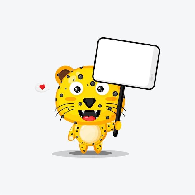 Netter leopard, der ein leeres zeichen hält