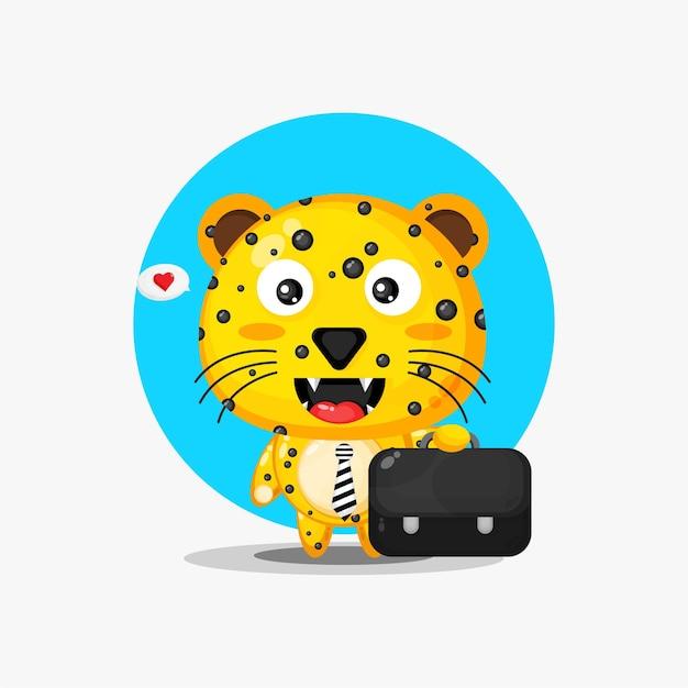 Netter leopard, der zur arbeit geht